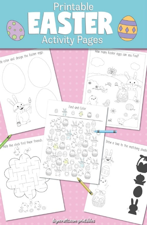 Preview of the first pack of the Easter printables and coloring pages.