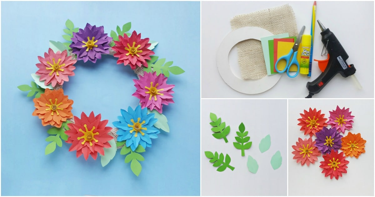 Easy Paper Flower Wreath With Free Printable Template