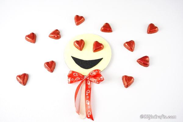 Finished heart eye smiley face emoji decoration